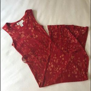 Textured Maxi Dress Floral Print Red Tan